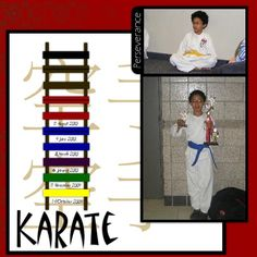 karate layout - do this with E's final belt. Pic of first night/belt and pic of final belt.