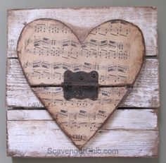 Wood Pallets Ideas Valentine wooden heart -Pallet wood, vintage sheet music and rusty junk upcycle Vintage Sheet Music, Vintage Sheets, Valentine Decorations, Valentine Crafts, Valentines, Heart Projects, Wood Projects, Sheet Music Crafts, Wood Pallets