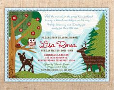 Forest Animals Customizable Baby Shower or Party Invitation