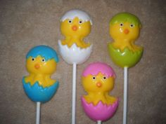 Chocolate Baby Shower Hatching Chic Chick Bunny Spring chocolate lollipops. castlerockchocolates at yahoo.com 307/899-7100 text any hour www.sapphirechocolates.artfire.com and stores.ebay.com/Castle-Rock-Chocolatier. usually made to ship 3 weeks after payment therefore please provide the following for a price quote w/ shipping info especially if your event falls under the 3 week estimated arrival dates * event date * character * quantity * state * zip code * email address.