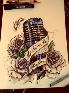 Unknown artist beautiful work. Oldies. Microphone. Tattoo