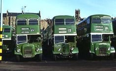 Daimler CVG6 No.105 (KTS 99) on the left, with other post-war Dundee buses, at Dock Street bus park on 9 April 1975