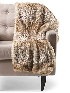 Chaise Lounge Sofa Nicole Miller Leopard Faux Fur Throw Cheetah Plush Luxury Blanket Taupe Beige White Nicole Miller http