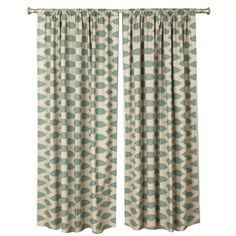 Set of two patterned cotton curtain panels.