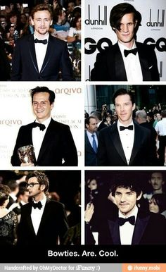 It's hilarious because Andrew Scott's bowtie is actually a regular tie that he tied into a bowtie bc bowties are awesome.