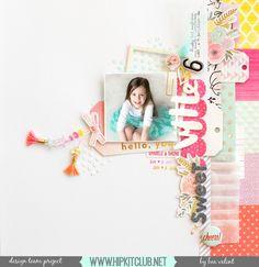 Take Me Away Pink Paislee Paige Evans Scrapbook Sketches, Scrapbook Page Layouts, Diy Scrapbook, Crate Paper, Studio Calico, Hip Kit Club, Birthday Scrapbook, Color Kit, Club Design