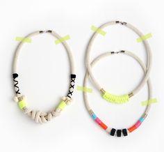 Handmade necklaces by Emily Dornbusch aka Emeldo.  Photo – Eve Wilson, styling – Lucy Feagins / The Design Files.