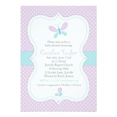 Purple Butterfly Baby Girl Shower Invitation