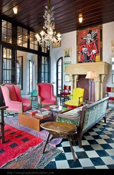 So fun, love the checkered flooring and bright colors Julian Schnabel's home Palazzo Chupi in NYC