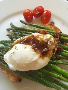 Asparagus with Poached Egg, Toast and Bacon Vinaigrette.