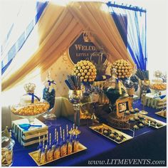 Royal blue gold prince party decoration baby shower sign for royal prince baby shower decorations Fiesta Baby Shower, Baby Shower Candy, Baby Shower Table, Gold Baby Showers, Shower Party, Baby Shower Parties, Baby Shower Themes, Shower Ideas, Royalty Baby Shower Theme