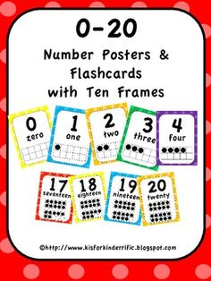0-20 Number Posters and Flashcards with Ten Frames-Primary Colors