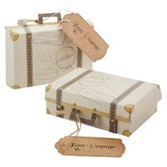 """Kate Aspen """"Bon Voyage"""" Vintage Suitcase Favor Box - Set of 24"""