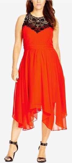 Plus Size Lace-Yoke Empire-Waist Dress