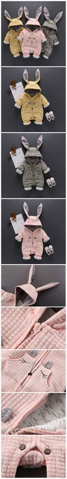 3-Color Thicker Rabbit Ears Baby Winter Warm Hooded Jumpsuit