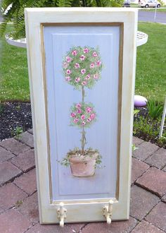 Vintage Antique Rosebud Topiary Door Panel