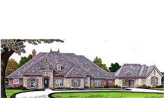 HousePlans.com 310-685    3214 sq ft French style 3 bed, 3 bath w/porte cochere & 4 garage stalls