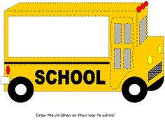 school bus activity worksheet  DLTK school bus paper color/draw kids on bus going to school (afterwards sing Wheels on the Bus)