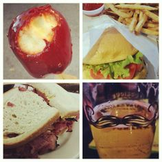 Pastrami, candy apple, burger and beer. That's NY!