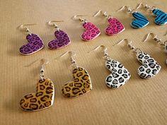 Cute Leopard Style Heart Hook Earrings in different colors!  #leopard #earrings #80s #eighties #stripes #kitsch #dangledrop #pink #purples