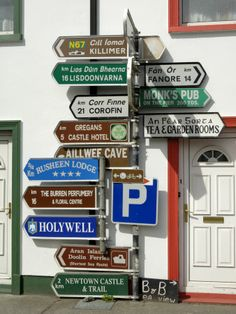 Profusion of Road Signs, Ballyvaughan, County Clare, Munster, Republic of Ireland