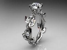 14kt whitegold  diamond leaf and vine wedding ring,engagement ring ADLR59' on Wish