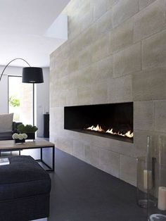 Limestone feature wall with grey tiles