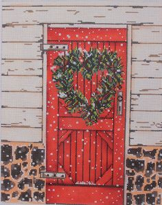 Susan Wallace Barnes Red Door SWB1081 Hand Painted Needlepoint Canvas $102