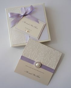 Lilac & Damask Wedding Card