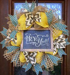 Hey Y'all custom wreath with burlap