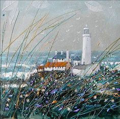 Deborah Phillips artist, paintings and art at the Red Rag Scottish Art Gallery Watercolor Landscape, Landscape Art, Landscape Paintings, Watercolour, Lighthouse Art, Stormy Sea, Sea Art, Collage, Naive Art