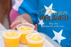 Get creative with movie-themes food and drinks, like this frozen Jedi Juice! May the freeze be with you!