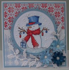 ink'n'rubba Mr Snowman stamp from LOTV, papers and die cuts Marianne Design