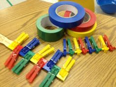 Pediatric Occupational Therapy Tips: Squeezing and Placing Clothespins for Strengthening and Color Matching