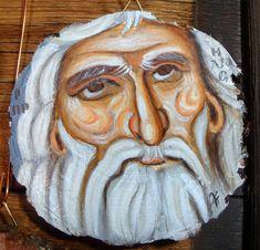 Prophet Elias Byzantine icon on wood slice handpainted 2019 cm Byzantine Icons, Wood Slices, Hand Painted, Traditional, Canvas, Painting, Color, Art, Tela