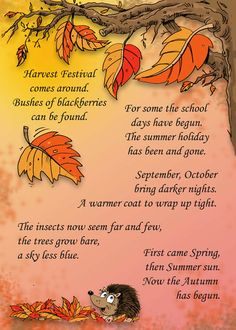 Cute poem to welcome Autumn Harvest Activities, Autumn Activities, Autumn Day, Autumn Theme, Autumn Leaves, Harvest Poems, Harvest Prayer, Nursery Activities, Autumn Crafts