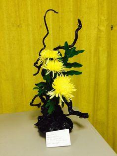New Garden Club Journal   Sculptural floral design using painted wood and spider mums        flower arrangement