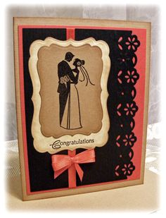 Beautiful Handmade Wedding Card in deep red and beige and black. $4.00, via Etsy.
