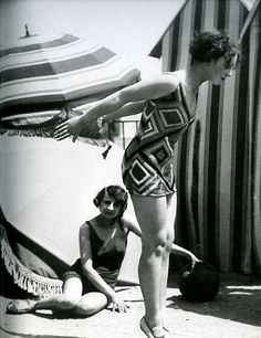 SONIA DELAUNAY | Model wearing swimsuit designed by Sonia Delaunay, 1929, photo by ...
