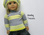 American Girl doll clothes, 18 inch doll clothes, American Girl clothes, yellow/gray striped top, charcoal gray ruffle skirt, & yellow hat
