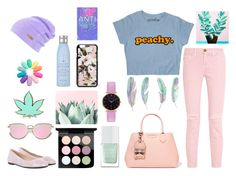 """""""peachy"""" by iamtotallysocial ❤ liked on Polyvore featuring Current/Elliott, Karl Lagerfeld, The Hand & Foot Spa, MAC Cosmetics, Abbott Lyon, HUGO, Dolce&Gabbana, Drybar, Jazzelli Designs and cute"""