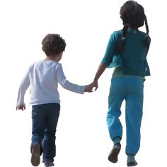Children Holding Hands and Skipping