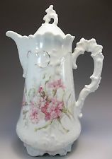 Antique Victorian Chocolate Pot Pink Carnations Flowers Brunswick Germany