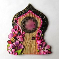 Bee Mine Fairy Door Valentine Pixie Portal Polymer Clay