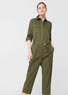 Cropped cotton jumpsuit   MANGO