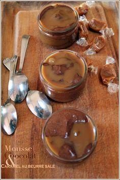 Mousses dessert au chocolat et caramel au beurre salé