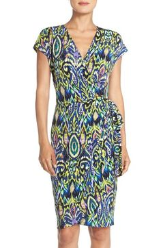 Maggy London Ikat Print Wrap Jersey Dress available at #Nordstrom