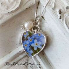 Forget Me Not Broken China Jewelry Sterling Heart Charm Pendant, www.RoseblossomCottage.com