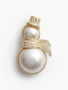 Pearl #Snowman #Brooch #GoldBrooches #GemstoneBrooches