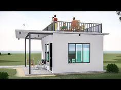 ARKIX3D - YouTube Loft House Design, Minimal House Design, Modern Small House Design, Bungalow House Design, Simple House Design, Modern House Floor Plans, Small House Plans, 1 Bedroom House Plans, Tiny House Exterior